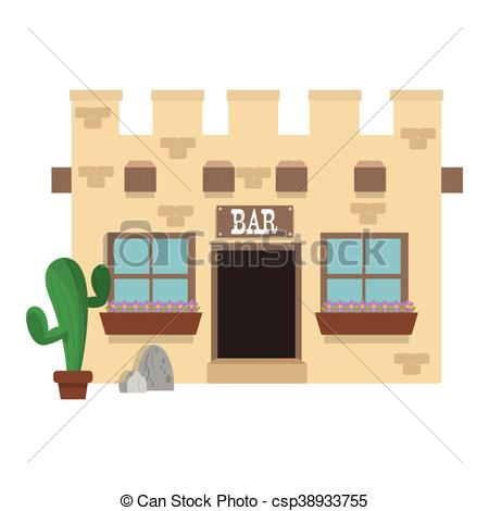 Clipart Vector of old west bar icon.