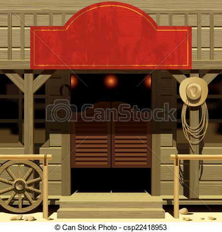 Clipart Vector of Wild West Saloon.