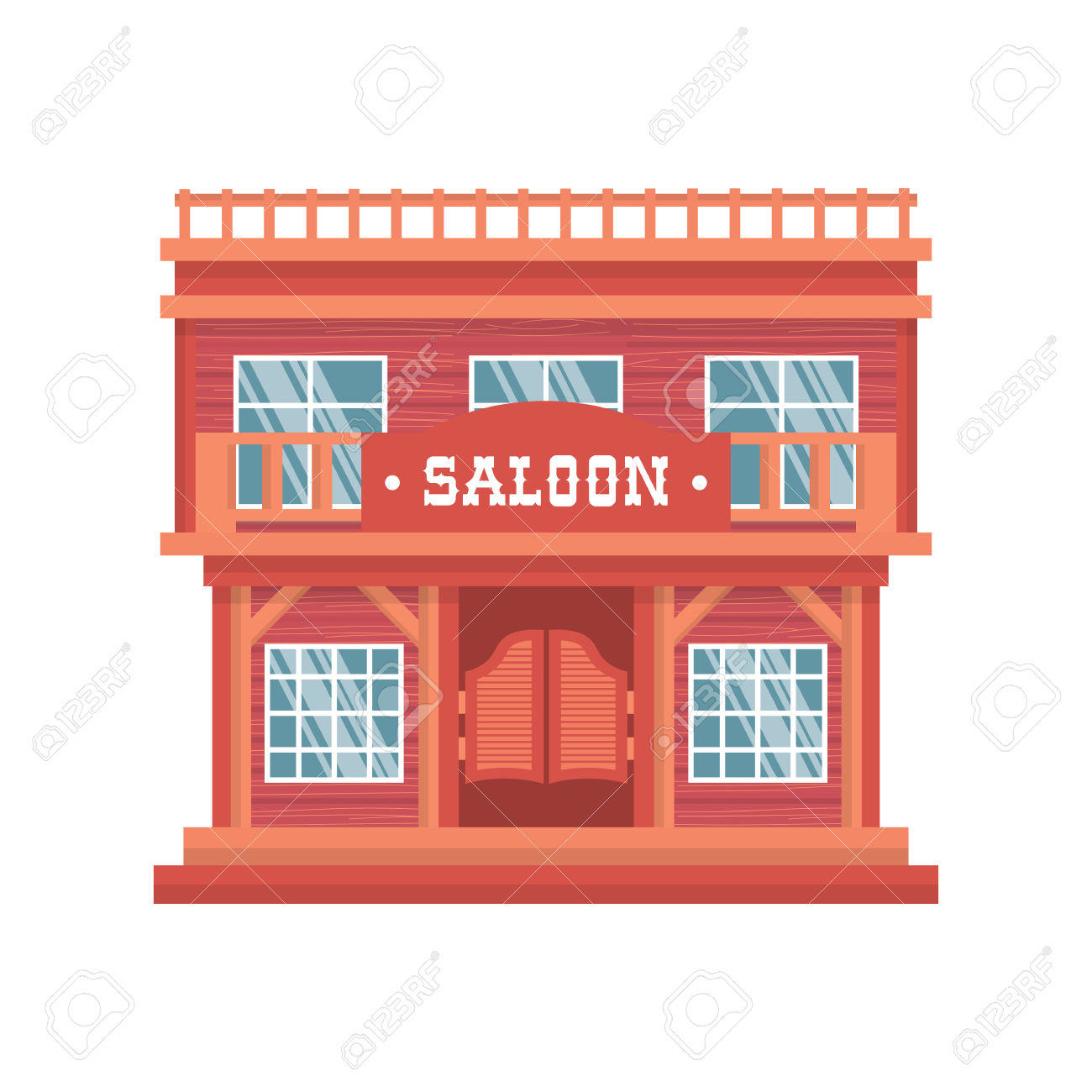 Western Saloon Doors. Isolated Wild West Wooden Bar On White.