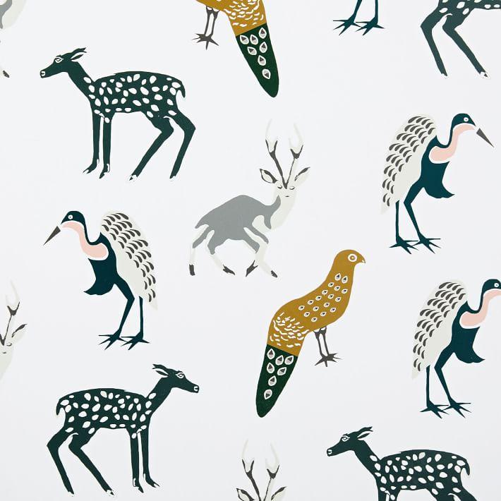 Woodland Animals Wallpaper, Green Multi, Single Roll.