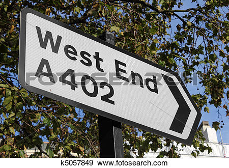 Stock Photograph of Road sign for the London West End. k5057849.