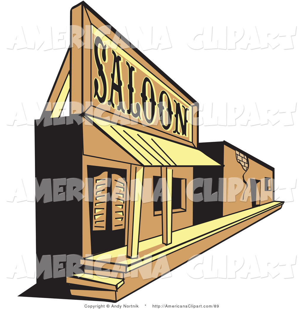 Americana Vector Clip Art of an Old Saloon Facade in an Old.