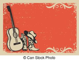 Country and western guitar Clipart Vector and Illustration. 239.