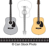 EPS Vectors of Country and Western Guitar Outline.