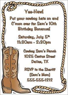 Cowboy Invitations Template.
