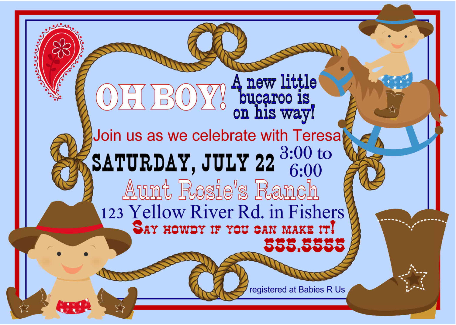 Design : Cowboy Baby Shower Invitations.