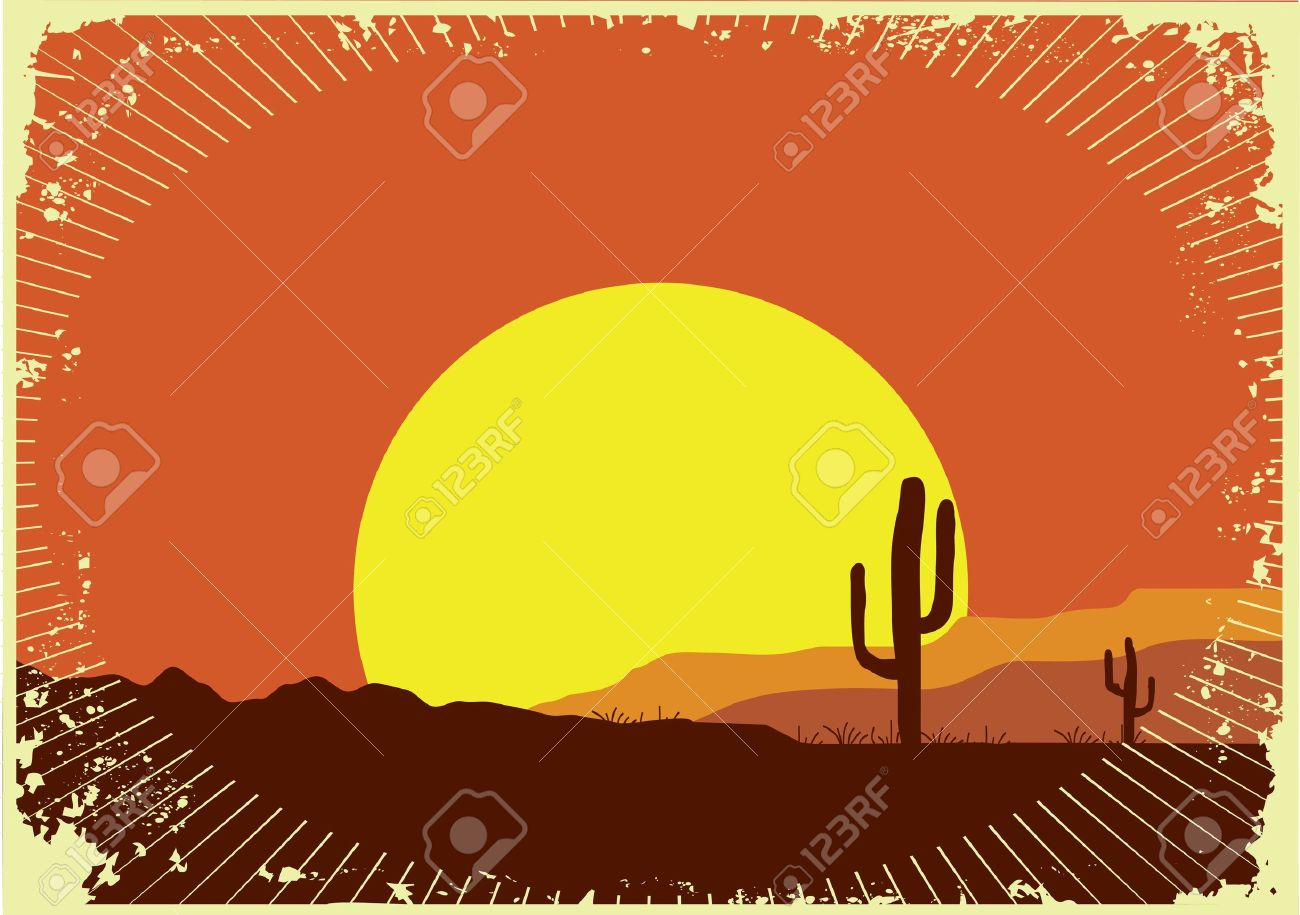 Grunge Wild Western Background Of Sunset Royalty Free Cliparts.