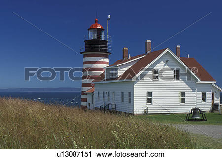 Stock Photography of lighthouse, Lubec, ME, Maine, Bay of Fundy.
