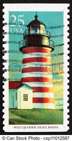 Pictures of Postage stamp USA 1990 West Quoddy Head, Maryland.