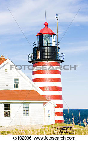 Stock Images of West Quoddy Head Lighthouse, Maine, USA k5102036.