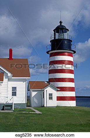 Stock Image of WEST QUODDY HEAD LIGHTHOUSE was commissioned in.