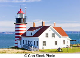 Stock Photo of West Quoddy Head Lighthouse, Maine, USA csp5170512.
