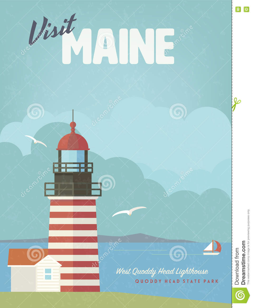Visit Maine Vintage Poster With West Quoddy Head Lighthouse Stock.