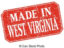 Clip Art Vector of West Virginia red square grunge made in stamp.