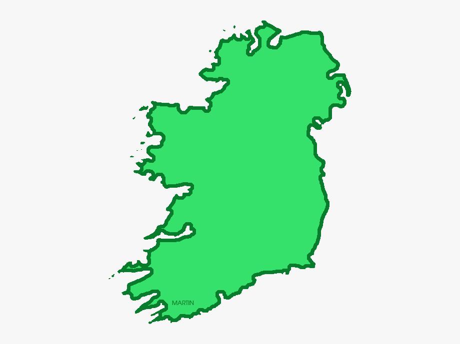 Map Of Ireland, Light Green.
