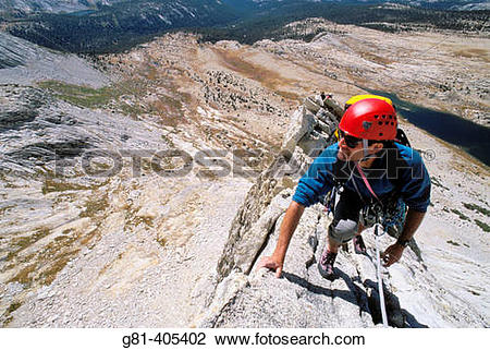 Stock Photo of Climber on the West Ridge of Mt. Conness, Tuolumne.