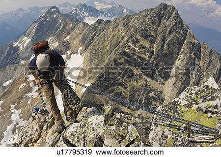 Stock Photograph of Climbers preparing to climb the classic north.