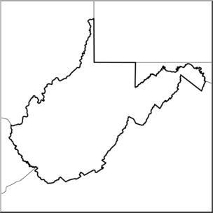 Clip Art: US State Maps: West Virginia B&W I abcteach.com.