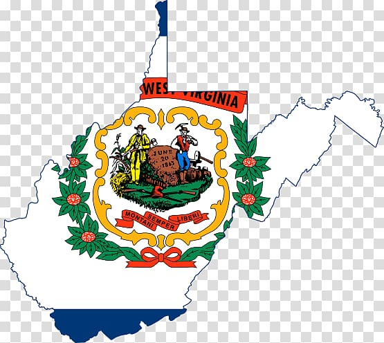 Flag of West Virginia Map, Appearance transparent background.