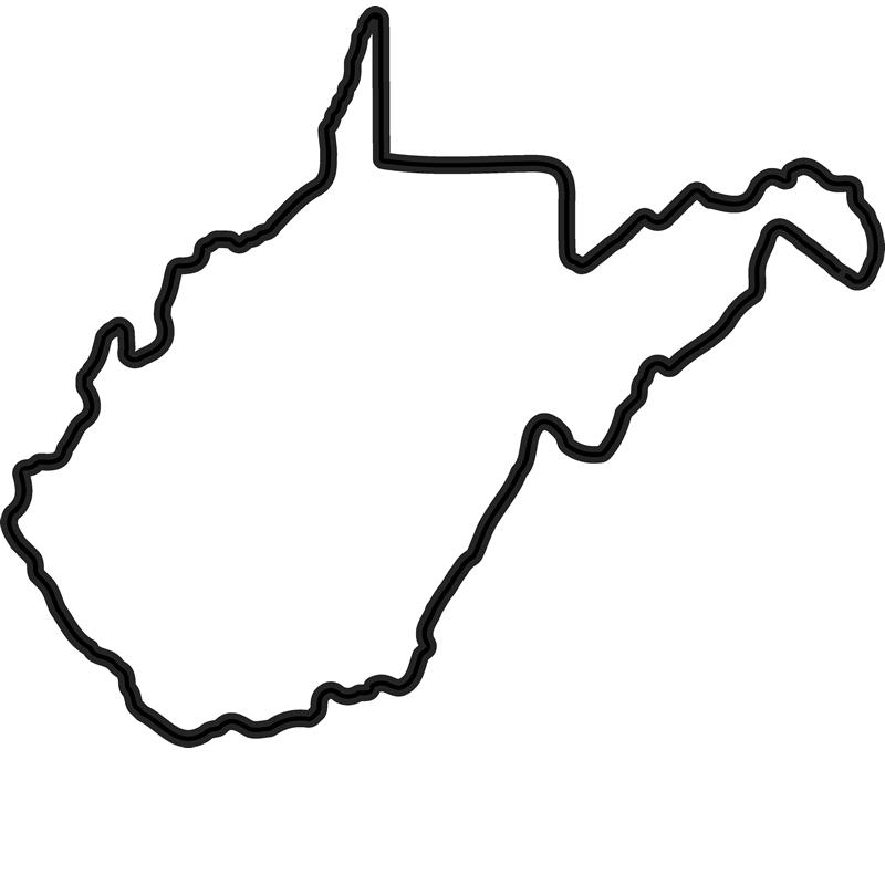 West Virginia Outline Rubber Stamp.