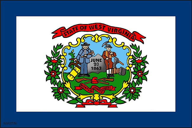 Flag of West Virginia Flag and seal of Virginia , Wv.
