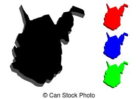 West virginia wv red state map word 3d illustration..