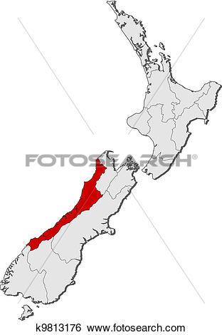 Clip Art of Map of New Zealand, West Coast highlighted k9813176.