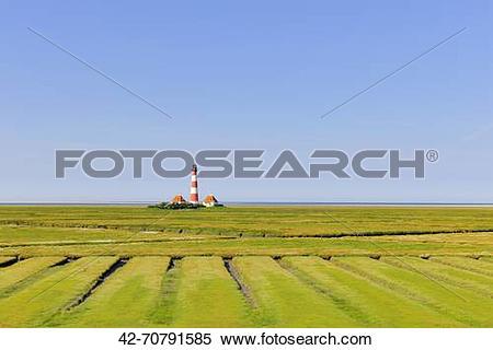 "Stock Image of ""Westerhever Lighthouse, North Sea, Schleswig."