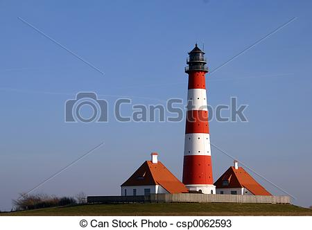 Stock Photos of Westerhever lighthouse from the Northern Sea coast.