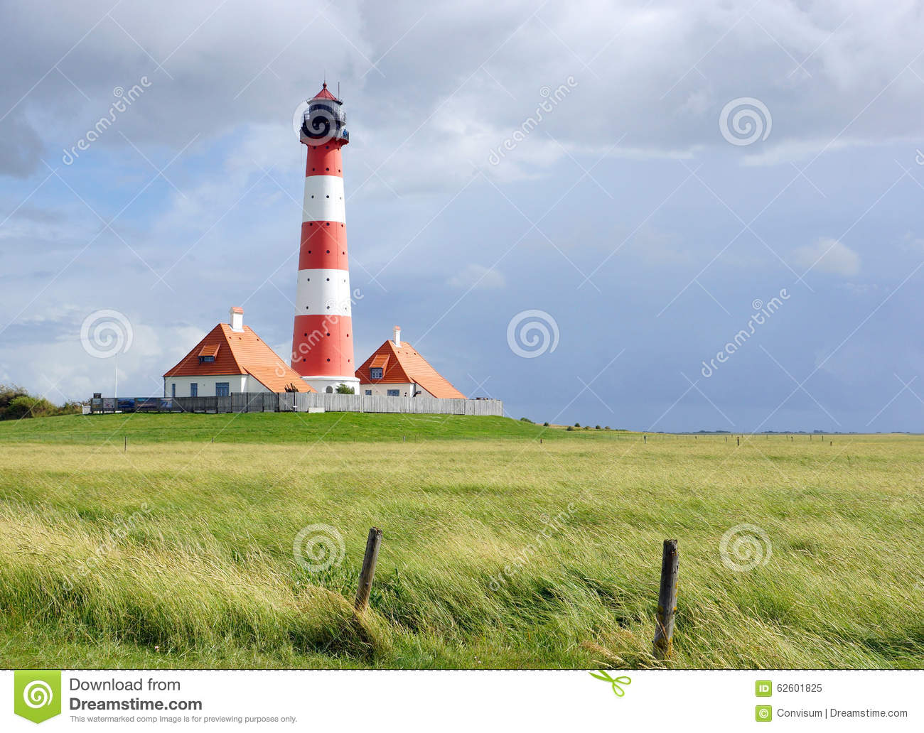 Famous Lighthouse In Westerhever, Germany Stock Photo.