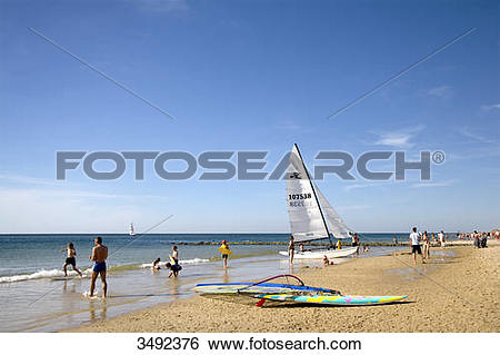 Stock Images of Tourists on the beach in Westerland, Sylt.