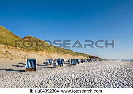 Stock Photo of Beach chairs, beach, Rotes Kliff, Westerland, Sylt.