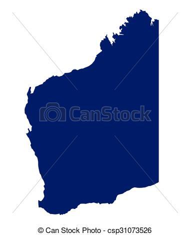 Vector Illustration of Western Australia State Silhouette.
