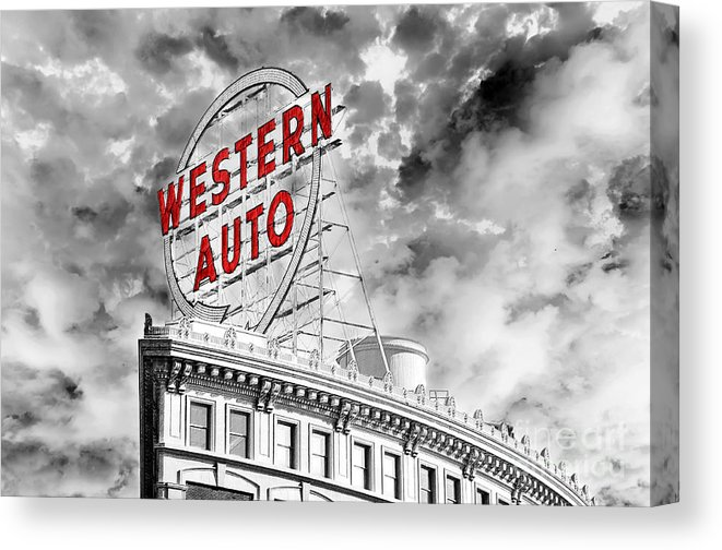 Western Auto Sign Downtown Kansas City B W Canvas Print.