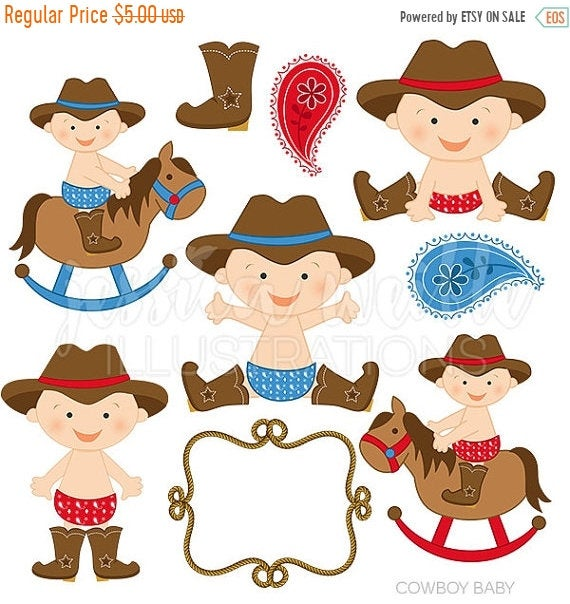 SALE Cowboy Baby Boy Cute Digital Clipart, Cowboy Clip art, Cowboy  Graphics, Baby cowboy, western baby, baby in boots, paisley, rope frame.