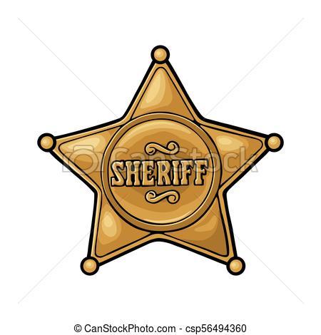 Sheriff star. Vintage color vector engraving illustration.