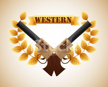 western banner Clipart Image.