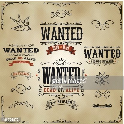 Wanted Vintage Western Banners Clipart Image.