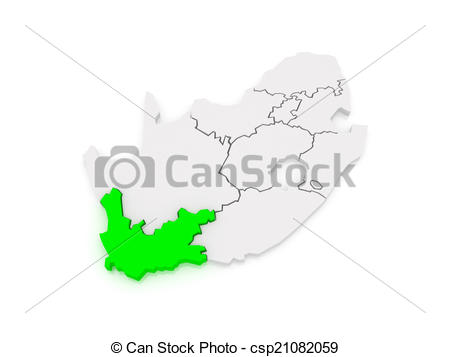 Stock Illustrations of Map of Western Cape (Cape Town). South.