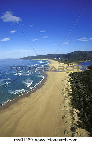 Stock Photograph of Keurboomstrand from above, Plettenberg Bay.