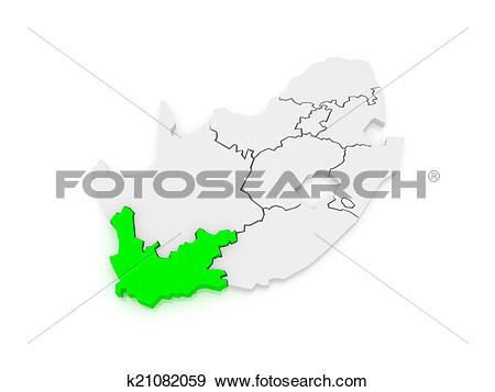 Stock Illustration of Map of Western Cape (Cape Town). South.