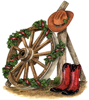 COUNTRY / WESTERN CHRISTMAS CLIP ART.