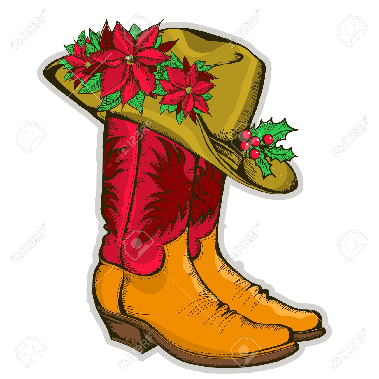 Christmas Cowboy boots and western hat with holiday decoration.Vector...