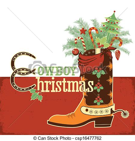 Free vector western christmas clipart.