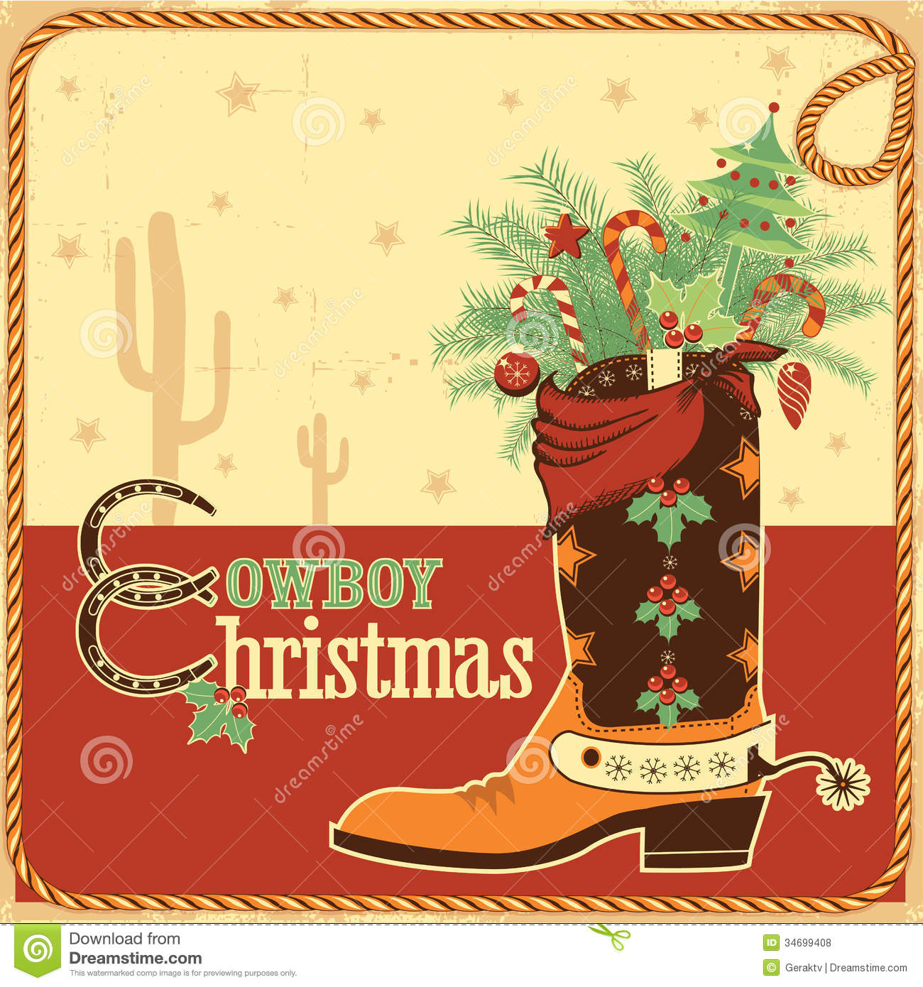 Cowboy Christmas Card With Text And Boot Royalty Free Stock Photos.