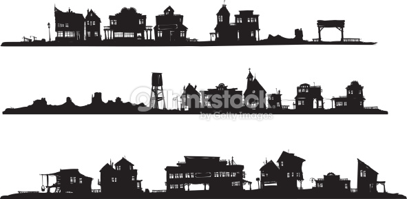 Old West Town Silhouette Clipart.