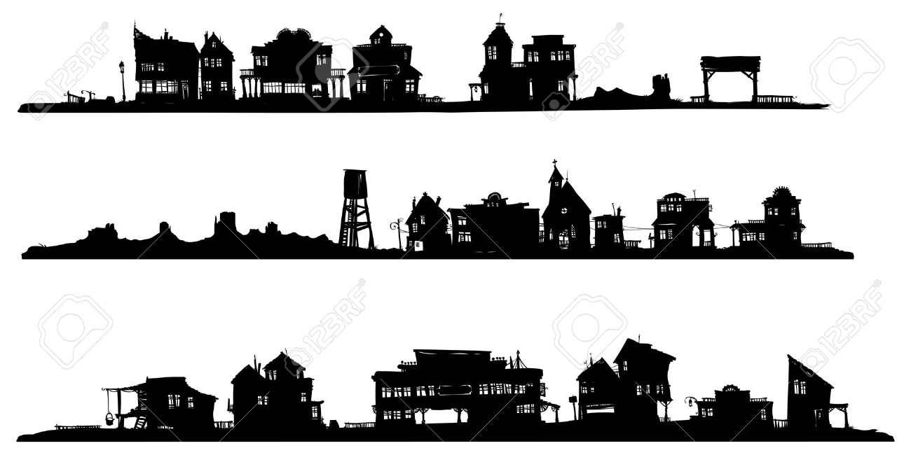 Western Style Buildings. Silhouette Drawing. Royalty Free Cliparts.
