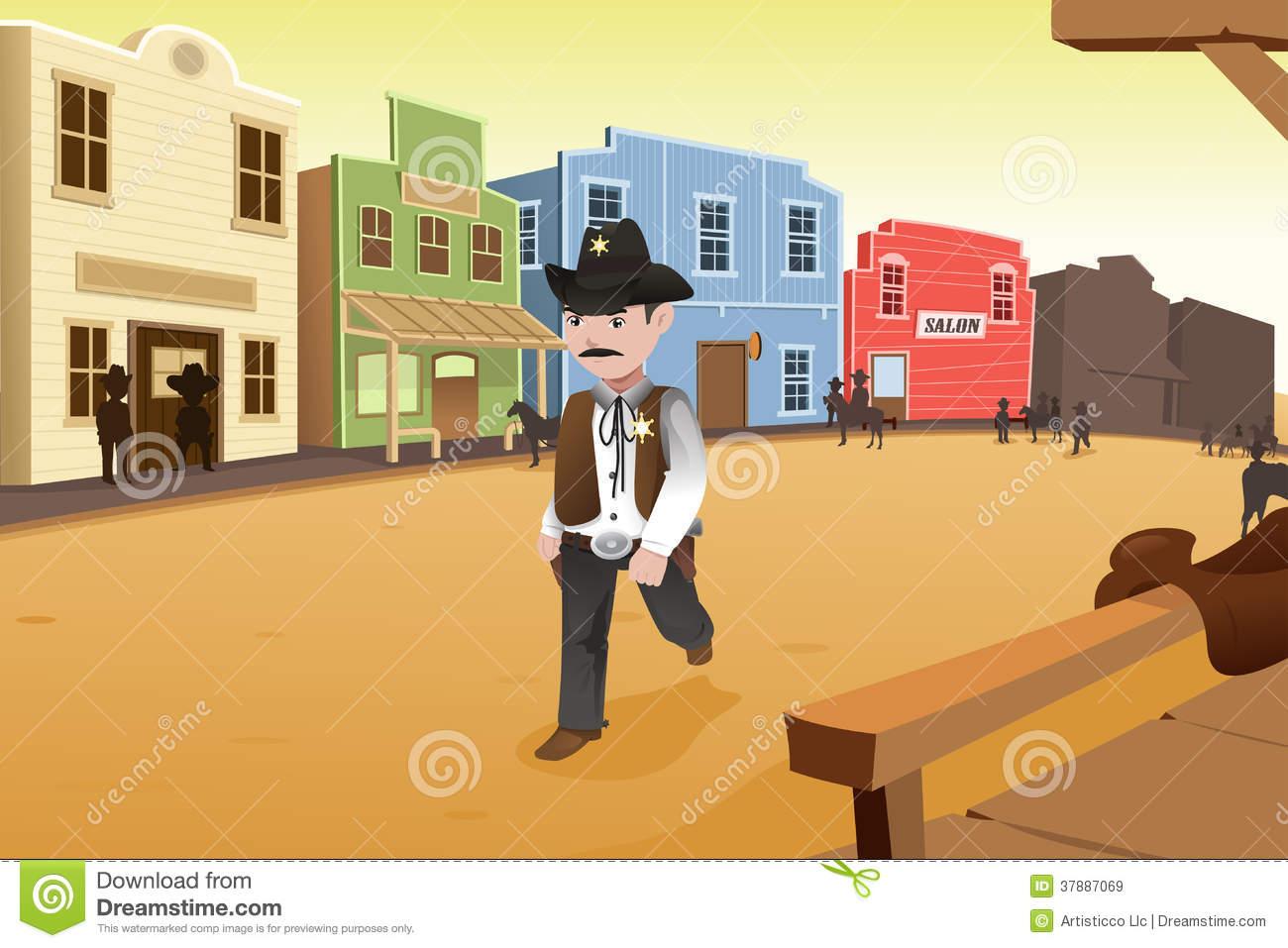 Old western town clipart.
