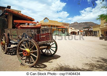 Stock Photos of Antique american cart in old western city.