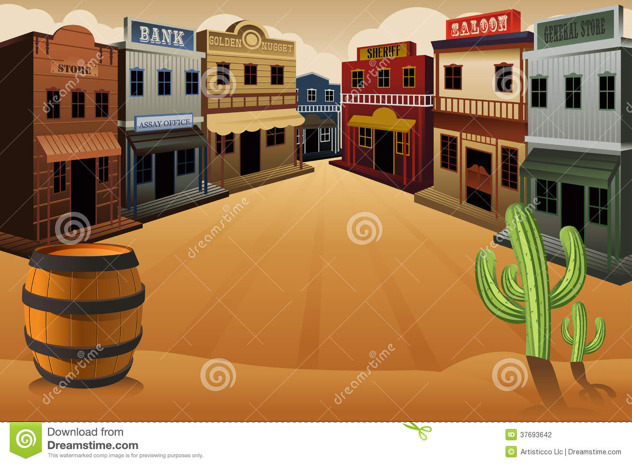 Western town background clipart.